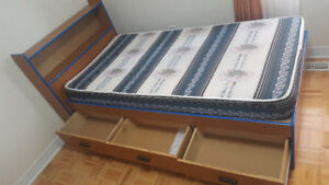 Two twin beds with headboards and two mattresses! With storage!