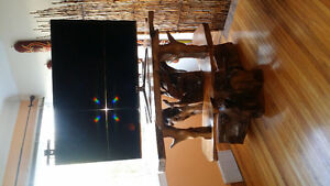 One of a kind exotic   wood carved tv stand Kingston Kingston Area image 5