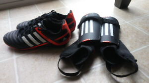 Boy's soccer cleats and shin pads