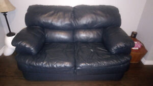 Navy blue leather loveseat