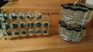 metal counter Spice rack with jars