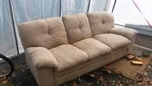Tan Micro-Suede Couch