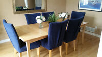 Solid Maple Dining Room Table with 6 High Back Chairs