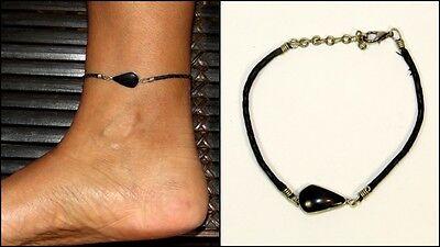 Edle Fußkette Fußband Onyx echter Stein Leder verstellbar Boho Ethno NEU!