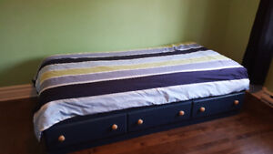 Single bed with mattress and bureau