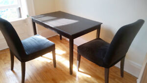 Black-brown LERHAMN Table and 2 HENRIKSDAL Chairs