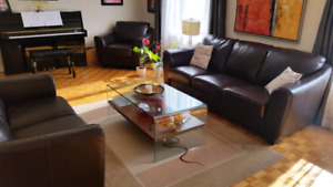 Sofa,love seat and 2 arm chairs. Leather like.$300 for the set