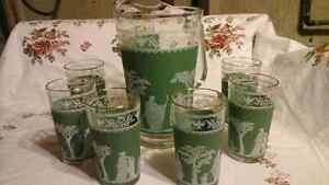 GLASS PITCHER, 6 GLASSES - GREEN JASPER WARE PATTERN