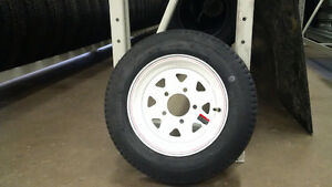 "ST 5.30-12 - 12"" TRAILER TIRE ON WHITE SPOKE RIM"