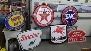 LARGE SIZE GASOLINE AND OIL SIGNS