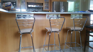 Set of three vintage kitchen stools