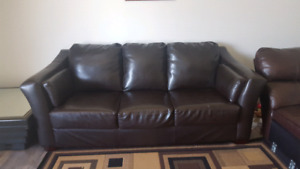 Dark brown leather couch.