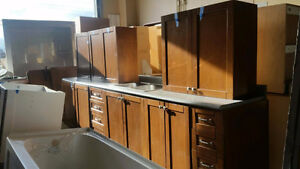 Maple Kitchen Cabinets & 2 Pantry's