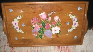 Large Wood Tray and Hand Painted by an artist, from  Quebec