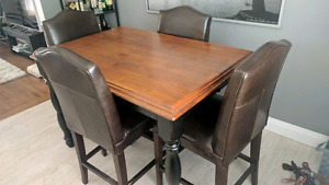 Dining room table set, counter height, with built-in leaf
