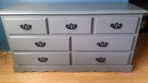 Solid wood painted grey dresser