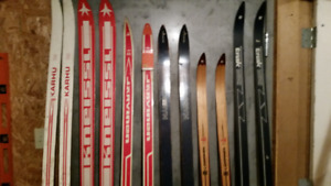 Cross Country Skis  and Bamboo Poles For Sale Vintage