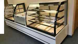 Curved Glass Pastry Bakery Chocolate Cake display case