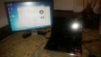 """HP Pavilion DV4 i3 Dual Core laptop with LARGE 22"""" Dell Monitor"""