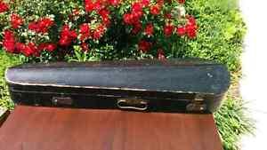 Antique Wooden GSB Style Coffin Violin Case Brass Handle & Locks