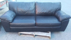 Black Leather Couch & Coffee Table
