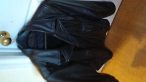 Two black leather jackets