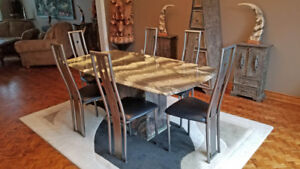 Dining Room Marble Table with modern brushed Steel chairs