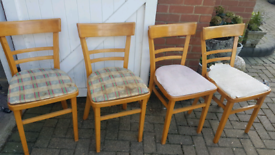 Set of 4 vintage retro mid century kitchen dining chairs