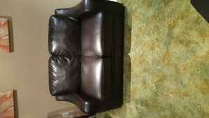 Brown leather 2 seat couch and single bead with matress Kitchener / Waterloo Kitchener Area image 1