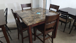 Pub Style Dining Table with 4 Chairs - Delivery Available