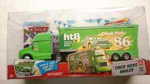 DISNEY PIXAR CARS CHICK HICKS SEMI HAULER #2 RACE CAR INCLUDED