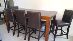 Bar height table with leaf and 6 chairs