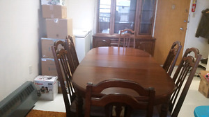 Dining table with 6 chairs and Chinese cabinet