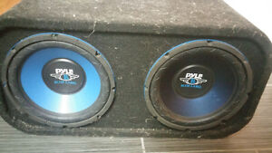 Two 10inch subs in box + kenwood amo and deck
