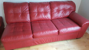 Leather Partial Sectional with Matching Ottoman