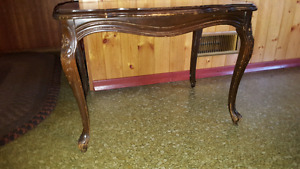 Antique clawfoot end table with removable glass top
