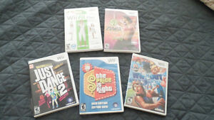 Various Wii games and exercise videos