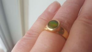 BEAUTIFUL 14K GOLD, ONE OF A KIND AMMOLITE RING