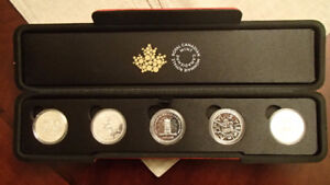 Royal Canadian Mint 5 Silver Coin Set with Red Mint Case