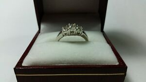 0.50ct 3 stone 925 platinum ring