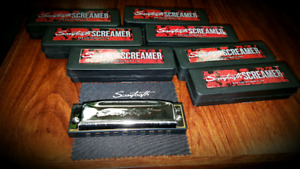 Set of 7 Brand New Blues Harmonicas , all differently keyed