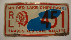 1983 Red Lake Chippewa - INDIAN NATION - License Plate - Low Num