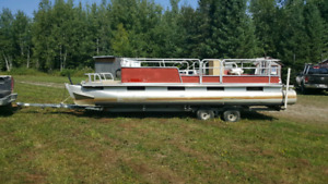 24' Pontoon on Tandem Trailer NO LEAKS *No motor