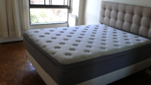 Like new Queen mattress/boxer/metal frame/headboard moving sale
