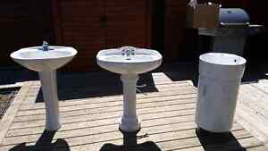 2 pedestal sinks with taps + one powder room sink and  counter