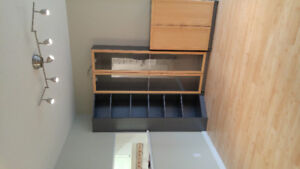 Ikea billy bookcase with pine trim doors