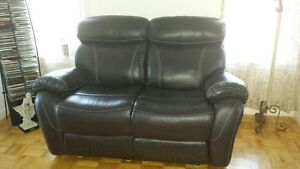 Causeuse et fauteuil inclinable cuir Brun