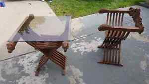 Savonarola hand carved Folding Antique chairs and table.