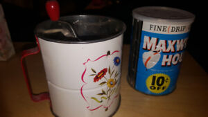 Vintage Flour Sifter/ Coffee can/Canister/Tin