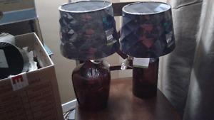 Unique blown glass lamps set